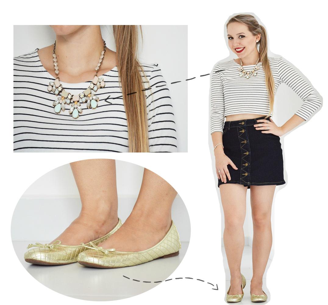 1 peça, 3 looks cropped listrado saia jeans com botões 1.2