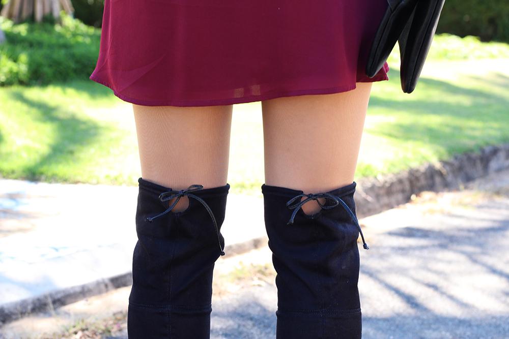 look colete de pelos over the knee e vestido marsala 15