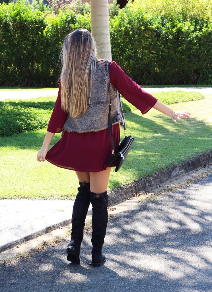 look colete de pelos over the knee vestido marsala 1