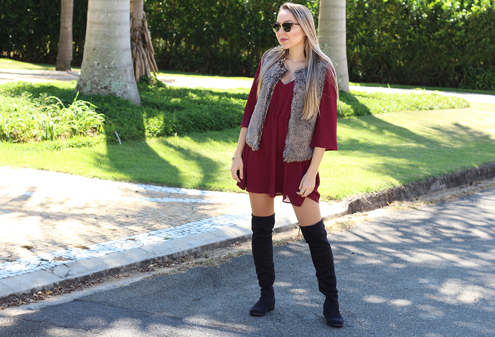 look colete de pelos over the knee vestido marsala 6