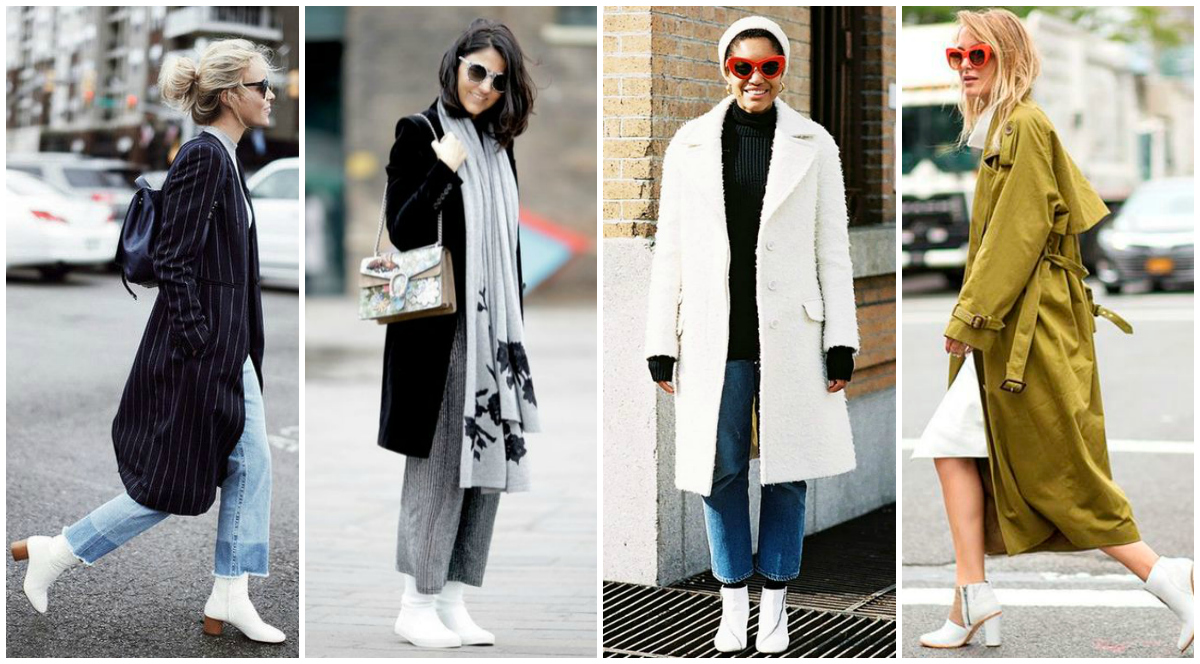 bota branca e casacos de inverno