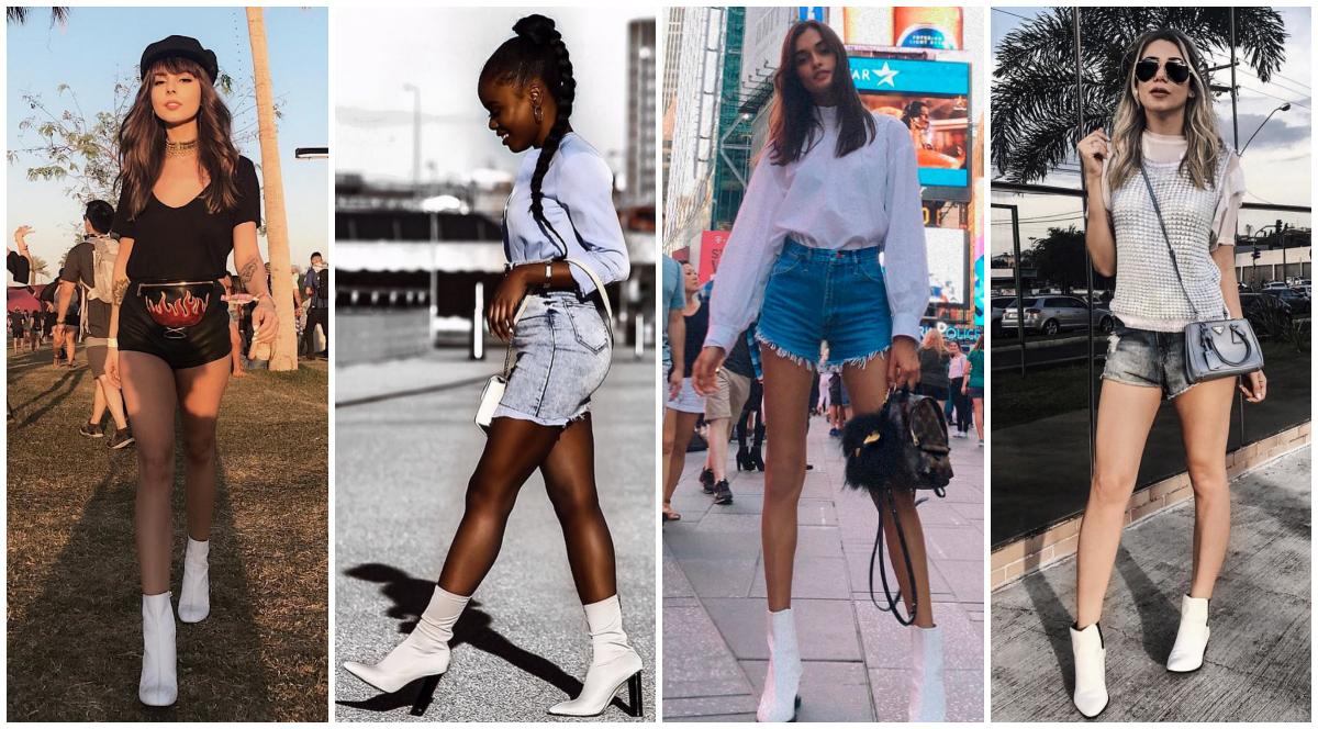 bota branca e shorts