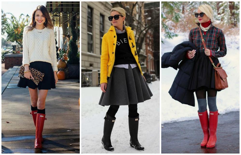 galochas femininas com saia