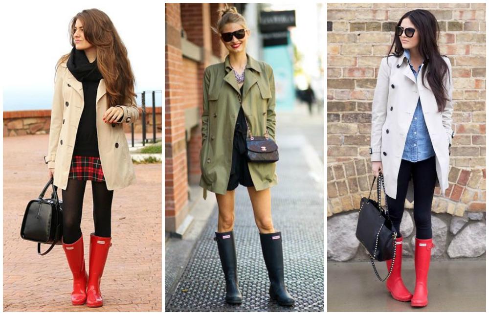 galochas femininas e trench coat